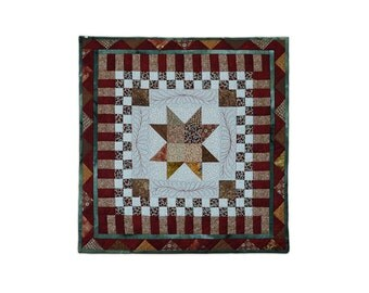 Table Topper Quilted Sawtooth Star Modern Patchwork One of a Kind Free USA Shipping