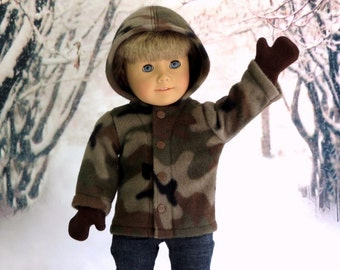 Boy Doll Clothes Camo Fleece Hoodie with Mittens, American Boy Doll Jacket, Boy Doll Mittens