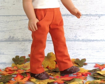 Pumpkin Orange Skinny Jeans, fits American Girl, Doll Clothes Pants with Pockets