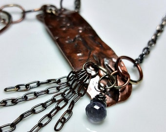 Warrior Statement Necklace, Wearable Art, Iolite Gemstone, Copper, Sterling Silver, Patina, Distressed, Chains, Rustic Metal, Women's
