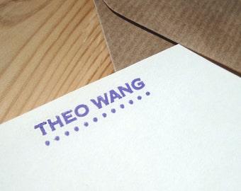 Personalised Letterpress Paper Stationery Set - Ellipses