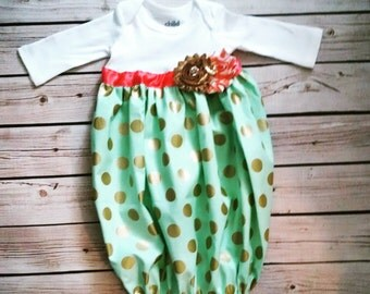 Baby Layette Gown - Gold Aqua Coral Layette -Coming Home Outfit - Sleep Sack - layette gown -Infant Gown - Photo Prop - baby shower