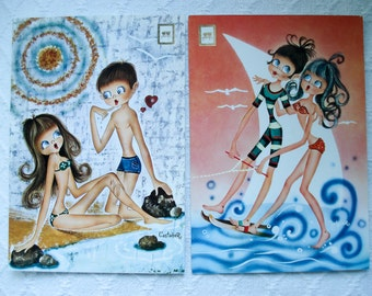 FOUND IN SPAIN -- 2 vintage postcards -- 1970s beach scene