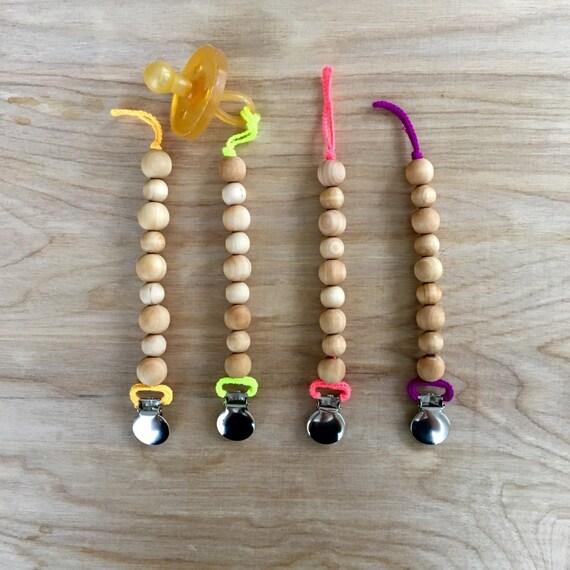 Neon Wood Bead Universal Pacifier Clip