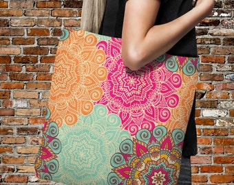 "Tote Bag-  Boho Chic Mandala Floral -Over Sized 18"" x 18"" Beach Bag-Everything Bags"