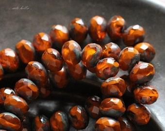 10% off ZINNIA No. 2 .. 10 Premium Picasso Czech Rondelle Glass Beads 5x7mm (4740-10)