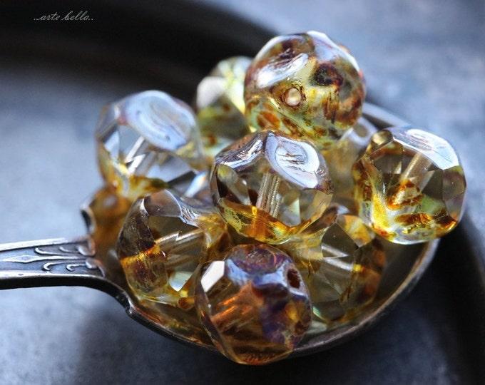 STREAM PEBBLES No. 1 .. 10 Premium Picasso Czech Glass Baroque Beads 8mm (40-10)