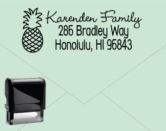NEW for 2016 FREE U.S. SHIPPING * Self Inking Return Address Stamp * Custom Address Rubber Stamp (E421) Pineapple