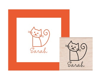 Kitty Cat Personalized Rubber Stamp