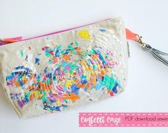 Confetti Case Vinyl  Zipper Case PDF Download sewing pattern
