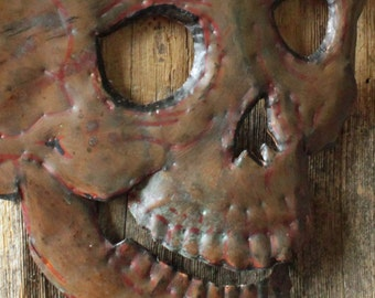 Human Skull - copper metal gothic wall art mask sculpture - Halloween - with verdigris blue-green and naturally-aged patinas - OOAK