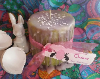 OSTARA/ Spring Equinox Sabbat Ritual Pillar Candle with Oils and Eggshell Wicca Witch Pagan