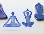 yoga meditation hand carved rubber stamps, handmade rubber stamp set