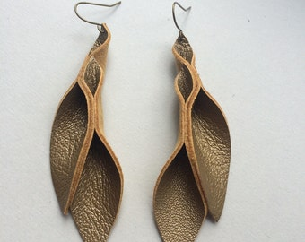 Petal Collection:   Burnt gold Leather Petal Earrings 3 inches