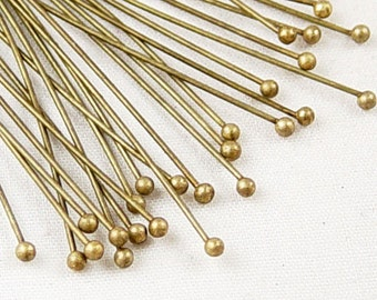 Ball Headpins 100 Ball Pins Antique Bronze 2.75 inch (70mm) 21 gauge (1034pin70z2)xz