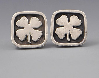 Good Fortune- Shamrock Four Leaf Clover Sterling Silver Affirmation Earrings by Dana Evans Studio
