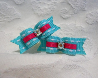 "DOG BOW-  3/8"" Pink and Aqua Maltese Pair"
