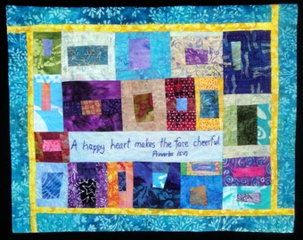 Happy Blue Art Quilt  Wall Hanging | A Happy Heart Makes The Face Cheerful Proverbs 15:13