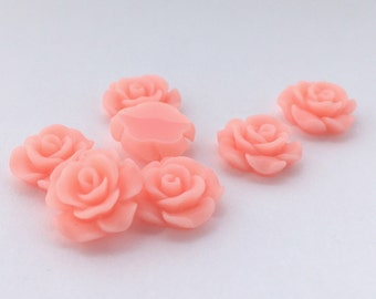 10pcs Acrylic Flower Cabochons- Pink 14mm (39F3)