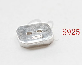 One Piece Sterling Silver Square Button - 13mm (P806-I-468)