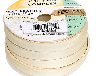 One Foot Flat Leather Cord - Metallic White 10x2mm (119)