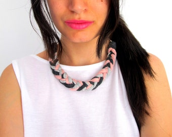 Quartz Pink Necklace, Gray and pink necklace, braided necklace, gray braided necklace, braided jewelry, cotton necklace, pink jewelry.