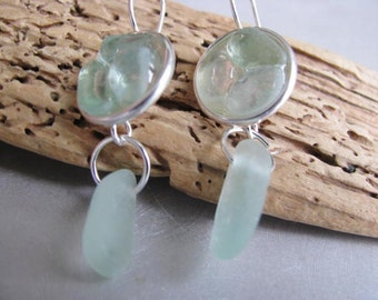 Sea Glass Circles - Aqua Sea Glass Earrings - Seafoam Sea Glass - Dangle Earrings - Sea Glass