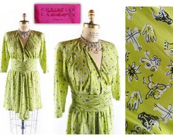Vintage 80s Dress // 1980s Dress // CHRISTIAN LACROIX Dress // Vintage Novelty Dress // Chartreuse Dress - sz L - 31 Inch Waist