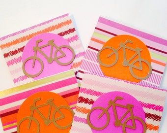 Bicycle Mini Cards, Set of 4, Gift Tags, Gift Enclosures, Bike Cards, 3X3 Cards, Stationery, Paper, Party Goods, Greeting Cards, Kids, Tags