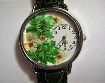 Women's Watch, Green Wrist Watch with Bridal Wreath and Leather Band, Watch for Women, Woman Watch, Women Flower Watch, Pressed Flower Watch