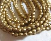 3mm Fire Polish Czech Glass Beads - Matte Metallic Gold - 50 beads