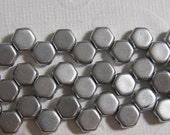 Honey Comb Beads 6mm - 2 Hole Czech - Silky Silver (Bronze Aluminum) - 30 Beads