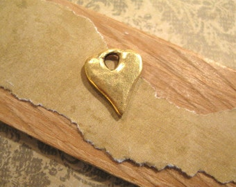 Rustic Hammered Heart Charm with Antique Gold Plating from Nunn Design