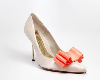 Salmon Satin Ribbon Bow Shoe Clips Set Of Two, More Colors Available