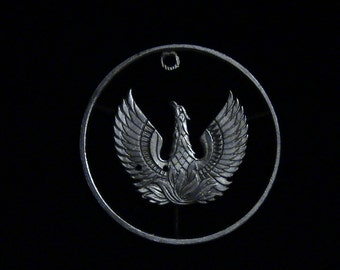 GREECE - cut coin pendant - Phoenix, Mythical Bird of Egyptian Lore - 1973 - FLAW DISCOUNT