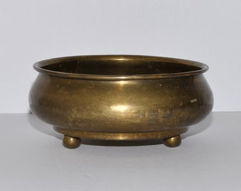 Antique George A. Ray Manufacturing Company Buffalo NY Brass Planter Bowl on Ball Feet, circa 1920s – 1930s