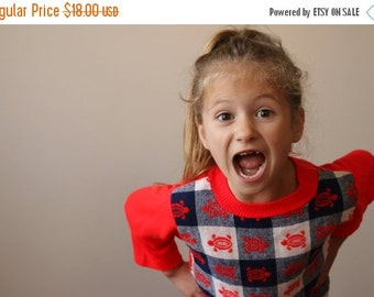 ON SALE 1970s Turtle Check Sweater~Size 5t/6