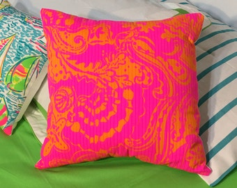 "New Pillow made with Lilly Pulitzer Pink Siesta fabric 14""x14"""