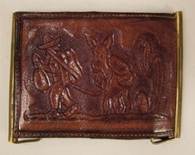 Vintage MEXICAN WALLET Southwestern handcrafted leather embossed designs app 4 x 3 in closed
