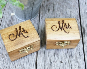 Wedding Ring Boxes - Mr. and Mrs.- Set of 2 - Wedding Ceremony