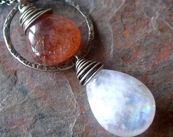 Rainbow Moonstone Sunstone Sterling Silver Necklace Rainbow Moonstone Sunstone Pendant on Sterling Silver Ch