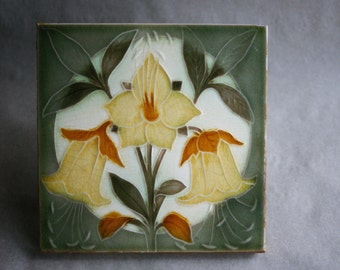 Antique Pilkington Arts and Crafts Period Art Pottery Tile Trio of Yellow Lillies Late 1800s Mission Era Bungalow Decor
