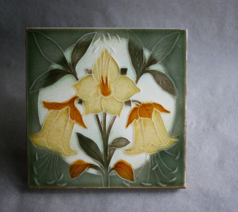 Antique pilkington arts and crafts period art pottery tile for Arts crafts tiles