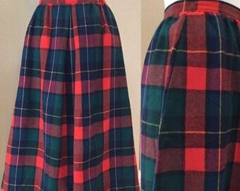 SALE Red Plaid Skirt,Wool Pendleton Skirt, 60's Fall,Winter,Plaid
