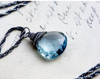 ON SALE Gemstone Necklace, Pendant Necklace, Blue Quartz, Blue Gemstone, Crystal Necklace, Crystal Jewelry, Sterling Silver, PoleStar, Sky B