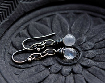 Moonstone Earrings, Dangle Earrings, Moonstone Jewelry, Rainbow Moonstone, Sterling Silver, Crystal Earrings, Drop Earrings, PoleStar