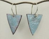 Frosty Blue Enameled Earrings