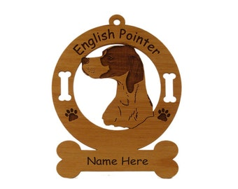 3157A English Pointer Head Personalized Dog Ornament