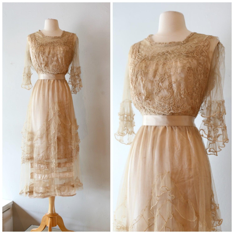 Vintage edwardian wedding dress vintage 1910s antique for Best etsy wedding dress shops