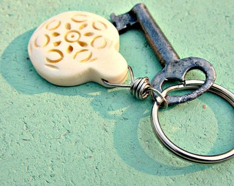 Keyring, Silver with Carved Bone Medallion Accent: Corfu
